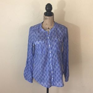 Anthropologie Blue Printed Top
